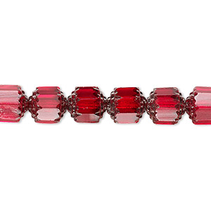 bead, czech glass, opaque red and metallic red, 8mm round cathedral. sold per 16-inch strand.