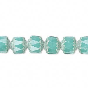 bead, czech glass, opaque turquoise blue and white, 8mm round cathedral. sold per 16-inch strand.