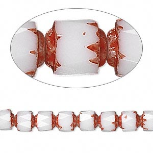 bead, czech glass, opaque white and red, 6mm round cathedral. sold per 16-inch strand.