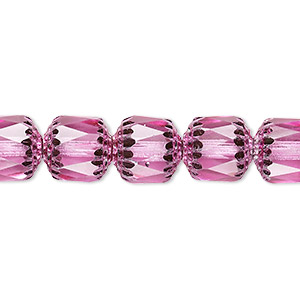 bead, czech glass, pink and metallic pink, 10mm round cathedral. sold per 16-inch strand.