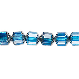 bead, czech glass, turquoise blue and metallic silver, 8mm round cathedral. sold per 16-inch strand, approximately 50 beads.