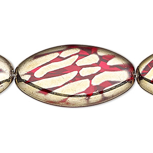 bead, czech gold-finished pressed glass, semitransparent metallic red, 36x19mm flat oval with pattern. sold per 16-inch strand.