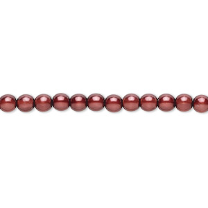 bead, czech pearl-coated glass druk, burgundy, 4mm round. sold per 16-inch strand.