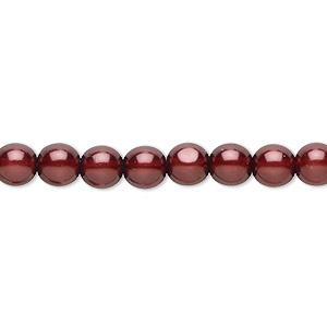 bead, czech pearl-coated glass druk, burgundy, 6mm round. sold per 16-inch strand.