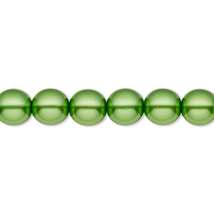 bead, czech pearl-coated glass druk, green, 8mm round with 0.8-1.3mm hole. sold per 16-inch strand.
