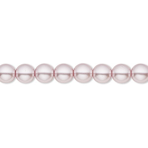 bead, czech pearl-coated glass druk, light mauve, 6mm round with 0.7-1.1mm hole. sold per 16-inch strand.