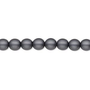 bead, czech pearl-coated glass druk, matte dark grey, 6mm round with 0.7-1.1mm hole. sold per 16-inch strand.