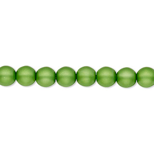 bead, czech pearl-coated glass druk, matte green, 6mm round with 0.7-1.1mm hole. sold per 16-inch strand.