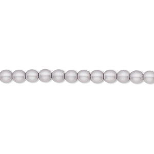 bead, czech pearl-coated glass druk, matte light grey, 4mm round with 0.8-1mm hole. sold per 16-inch strand.