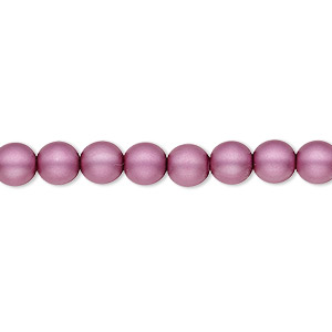 bead, czech pearl-coated glass druk, matte lilac, 6mm round with 0.7-1.1mm hole. sold per 16-inch strand.