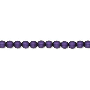 bead, czech pearl-coated glass druk, matte purple, 4mm round with 0.8-1mm hole. sold per 16-inch strand.