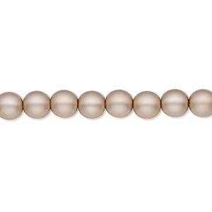 bead, czech pearl-coated glass druk, matte sand, 6mm round with 0.7-1.1mm hole. sold per 16-inch strand.