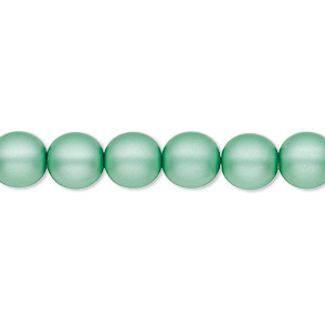 bead, czech pearl-coated glass druk, matte sea foam green, 8mm round with 0.8-1.3mm hole. sold per 16-inch strand.