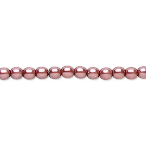 bead, czech pearl-coated glass druk, mauve, 4mm round. sold per 16-inch strand.