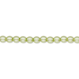 bead, czech pearl-coated glass druk, mint green, 4mm round with 0.8-1mm hole. sold per 16-inch strand.