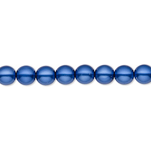 bead, czech pearl-coated glass druk, royal blue, 6mm round with 0.7-1.1mm hole. sold per 16-inch strand.
