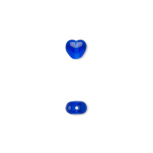 bead, czech pressed glass, cobalt, 6.5x6mm heart. sold per 16-inch strand, approximately 65 beads.