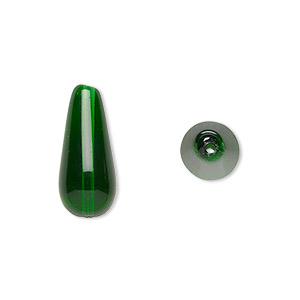 bead, czech pressed glass, emerald green, 20x9.5mm teardrop. sold per 16-inch strand, approximately 20 beads.