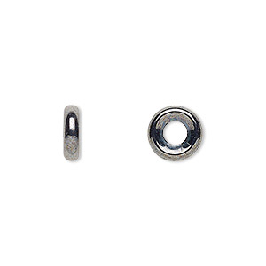 bead, czech pressed glass, hematite, 9.5x3mm ring with 3.5mm hole. sold per pkg of 50.