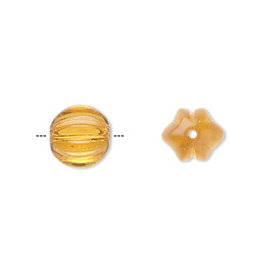 bead, czech pressed glass, honey, 10x8.5mm fluted round. sold per 16-inch strand, approximately 40 beads.
