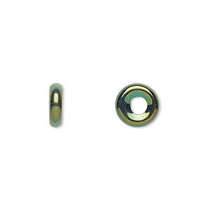 bead, czech pressed glass, iris green, 9.5x3mm ring with 3.5mm hole. sold per pkg of 50.