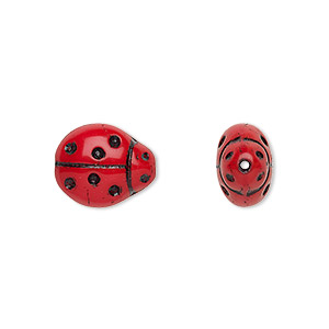 bead, czech pressed glass, opaque red and black, 13x11mm ladybug. sold per 16-inch strand, approximately 30 beads.