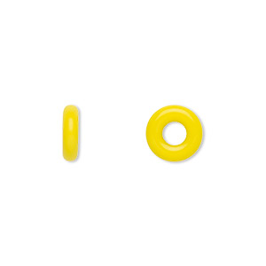 bead, czech pressed glass, opaque yellow, 9.5x3mm ring with 3.5mm hole. sold per pkg of 50.