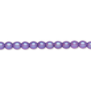 bead, czech pressed glass, pearlized dark blue, 4mm round. sold per 16-inch strand, approximately 100 beads.