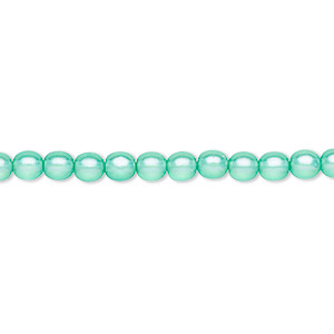 bead, czech pressed glass, pearlized ocean blue, 4mm round. sold per 16-inch strand, approximately 100 beads.