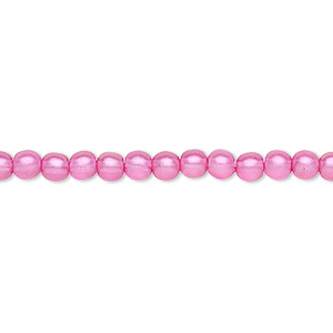 bead, czech pressed glass, pearlized pink, 4mm round. sold per 16-inch strand, approximately 100 beads.