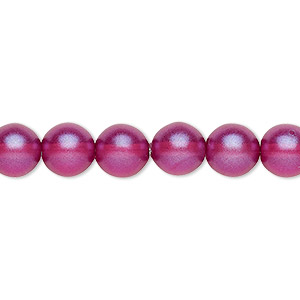 bead, czech pressed glass, pearlized purple, 8mm round. sold per 16-inch strand, approximately 50 beads.