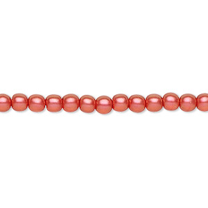 bead, czech pressed glass, pearlized rose, 4mm round. sold per 16-inch strand, approximately 100 beads.