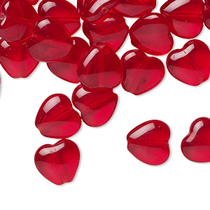 bead, czech pressed glass, ruby red, 10x9.5mm heart. sold per 16-inch strand, approximately 45 beads.