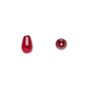 bead, czech pressed glass, ruby red, 9.5x6mm teardrop. sold per 16-inch strand, approximately 40 beads.