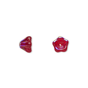 bead, czech pressed glass, ruby red ab, 8.5x6.5mm flower. sold per 16-inch strand, approximately 80 beads.