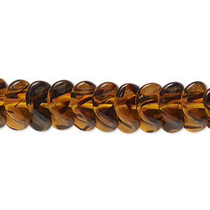 bead, czech pressed glass, tortoise, 13x8.5mm twisted rondelle. sold per 16-inch strand, approximately 85 beads.