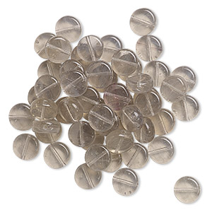 bead, czech pressed glass, transparent grey, 8mm flat round. sold per 19-gram vial, approximately 45-55 beads.