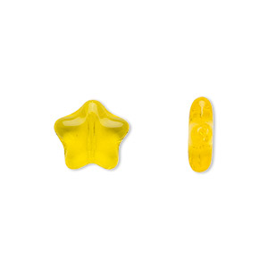 bead, czech pressed glass, yellow, 11x11mm star. sold per 16-inch strand, approximately 35 beads.