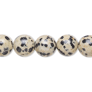 bead, dalmatian jasper (natural), 10mm round, b grade, mohs hardness 6-1/2 to 7. sold per 16-inch strand.