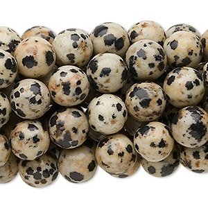 bead, dalmatian jasper (natural), 8mm round, c grade, mohs hardness 6-1/2 to 7. sold per pkg of (10) 16-inch strands.
