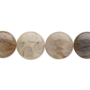 bead, dendritic ocean agate (natural), 14mm puffed flat round with 0.5-1.5mm hole, b grade, mohs hardness 6-1/2 to 7. sold per 8-inch strand, approximately 15 beads.