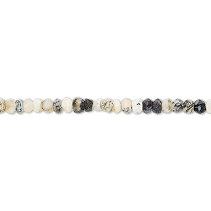 bead, dendritic opal (natural), 3x1mm-3x3mm hand-cut faceted rondelle, c grade, mohs hardness 5 to 6-1/2. sold per 13-inch strand.