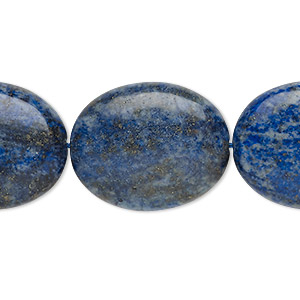 bead, denim lapis (dyed), 24x19mm-25x20mm puffed oval, c grade, mohs hardness 5 to 6. sold per 8-inch strand.