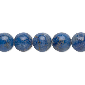 bead, denim lapis (natural), 10mm round, c grade, mohs hardness 5 to 6. sold per 16-inch strand.