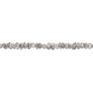 bead, diamond (natural), grey-brown, mini hand-cut chip, mohs hardness 10. sold per 8-inch strand.