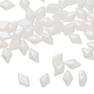 bead, diamonduo™, czech pressed glass, opaque white airy pearl, 8x5mm faceted diamond with flat back and (2) 0.7-0.8mm holes. sold per 10-gram pkg, approximately 70 beads.