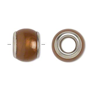bead, dione, acrylic and silver-finished brass, shimmer brown, 17x13mm rondelle with grommets, 7-7.5mm hole. sold per pkg of 20.
