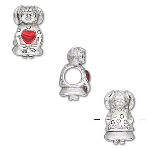 bead, dione, antique silver-plated pewter (tin-based alloy) and glass, red, 15x9mm girl with heart, 5mm hole. sold individually.