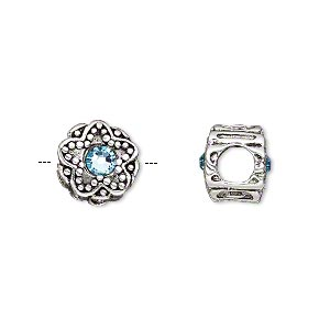bead, dione, antique silver-plated pewter (tin-based alloy) and swarovski crystal rhinestone, aquamarine blue, 11mm double-sided round with star design, 5mm hole. sold individually.