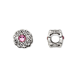 bead, dione, antique silver-plated pewter (tin-based alloy) and swarovski crystal rhinestone, rose, 11mm double-sided round with star design, 5mm hole. sold individually.